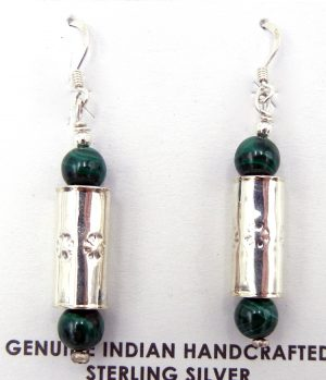 Navajo malachite and sterling silver cylinder dangle earrings
