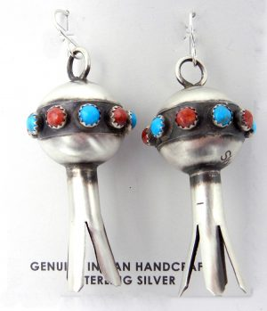 Navajo brushed sterling silver, turquoise and coral squash blossom earrings by Monica Smith