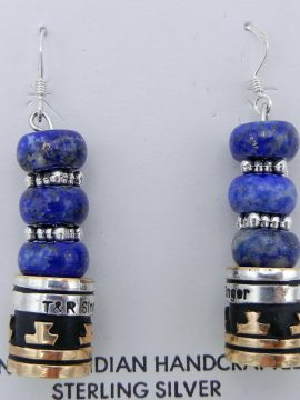 Navajo Rosita Singer Lapis, Sterling Silver and Gold Fill Overlay Dangle Earrings
