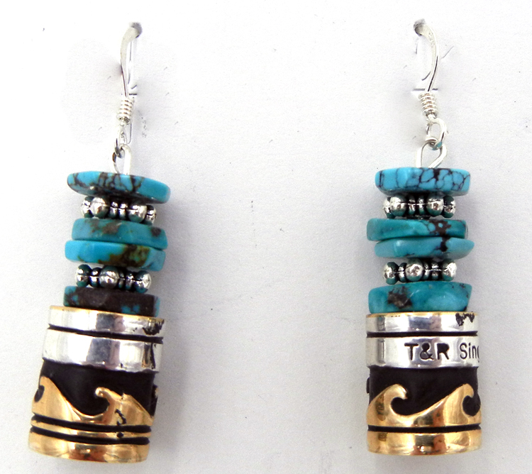 Navajo turquoise, sterling silver and gold fill overlay earrings by Rosita Singer
