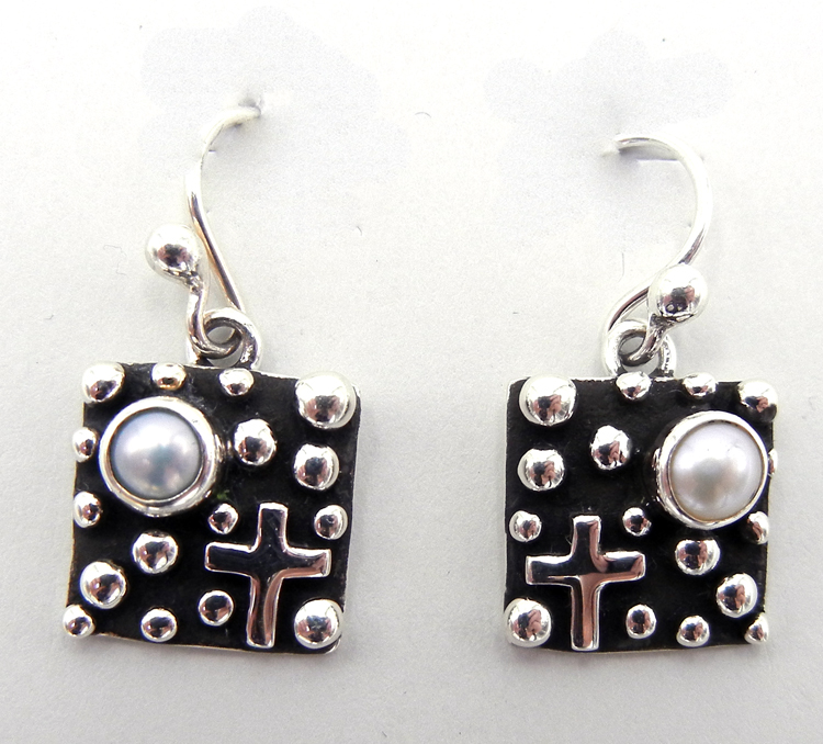 Navajo Sterling Silver and Pearl Million Dollar Drop Collection Earrings