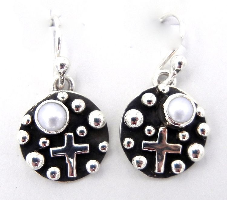 Navajo Pearl and Sterling Silver Million Dollar Drop Collection Small Dangle Earrings