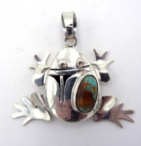 Navajo Bennie Ration turquoise and sterling silver shadowbox frog pendant