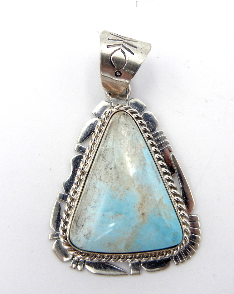 Navajo large dry creek turquoise and sterling silver pendant