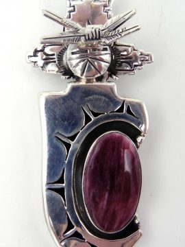Navajo Bennie Ration Purple Spiny Oyster Shell and Sterling Silver Maiden Pendant