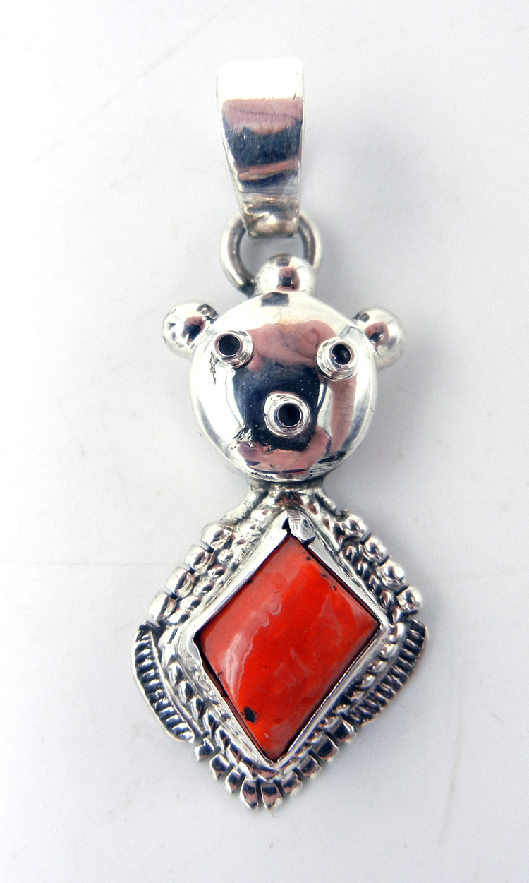 Navajo Bennie Ration Coral and Sterling Silver Mudhead Pendant