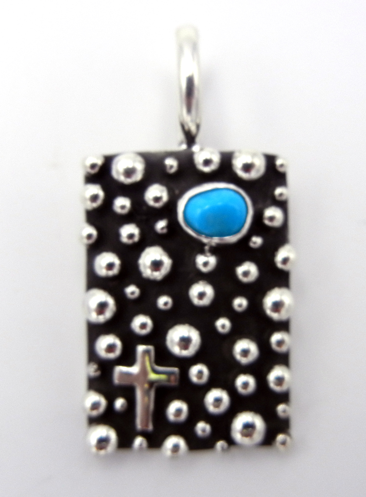 Navajo Sterling Silver and Turquoise Million Dollar Drop Collection Pendant
