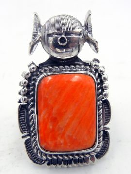 Navajo Bennie Ration Orange Spiny Oyster Shell and Sterling Silver Maiden Ring