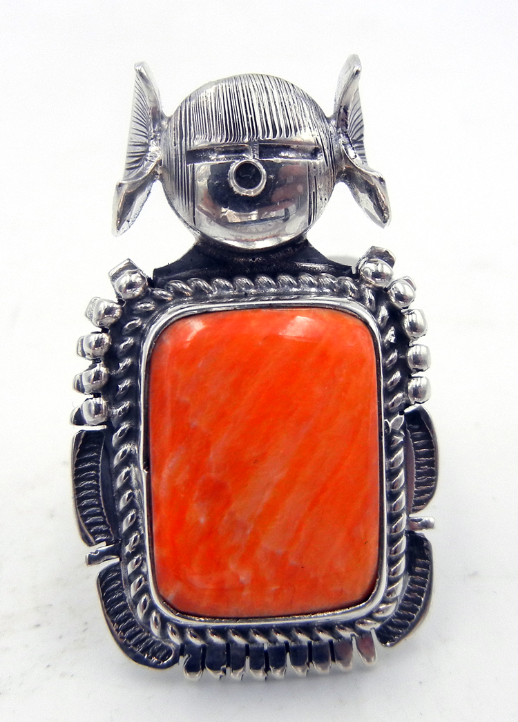 Navajo orange spiny oyster shell and sterling silver maiden ring by Bennie Ration