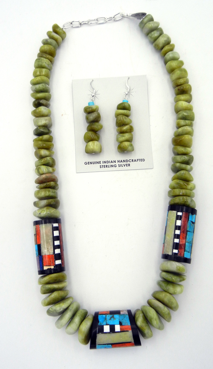 Santo Domingo serpentine bead and multi-stone inlay barrel necklace and earring set by Torevia Crespin