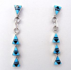Zuni turquoise and jet inlay four triangle dangle earrings