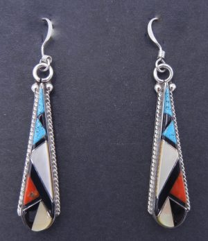 Zuni multi-stone inlay and sterling silver tear drop shaped dangle earrings