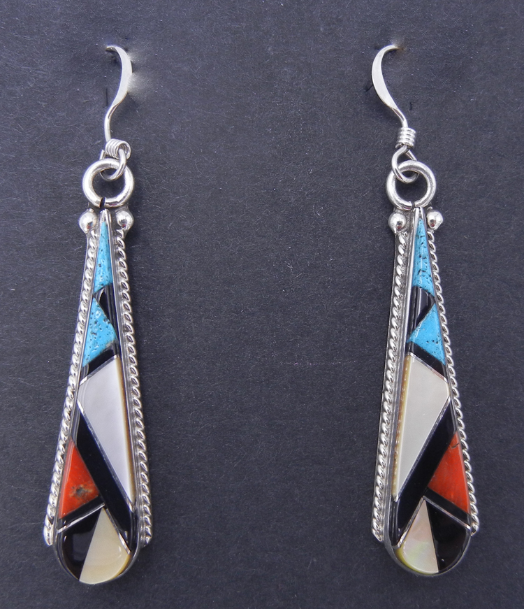 Zuni Multi-Stone Inlay and Sterling Silver Dangle Earrings