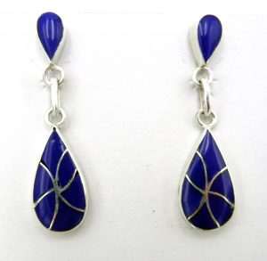 Zuni lapis and sterling silver inlay dangle earrings by Orlinda Natewa