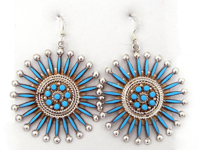 Zuni turquoise needlepoint, petit point, and sterling silver dangle earrings by Iva Booqua