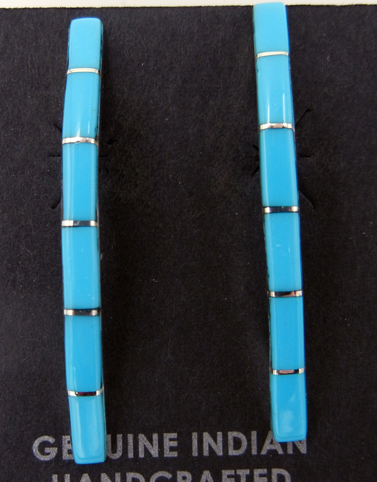 Zuni Turquoise and Sterling Silver Inlay Bar Earrings