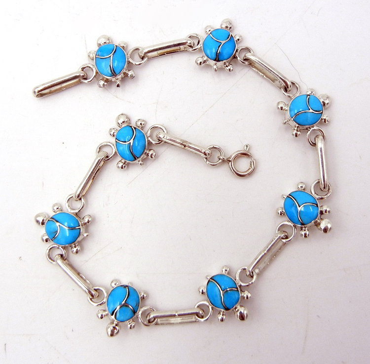 Zuni Turquoise and Sterling Silver Turtle Link Bracelet