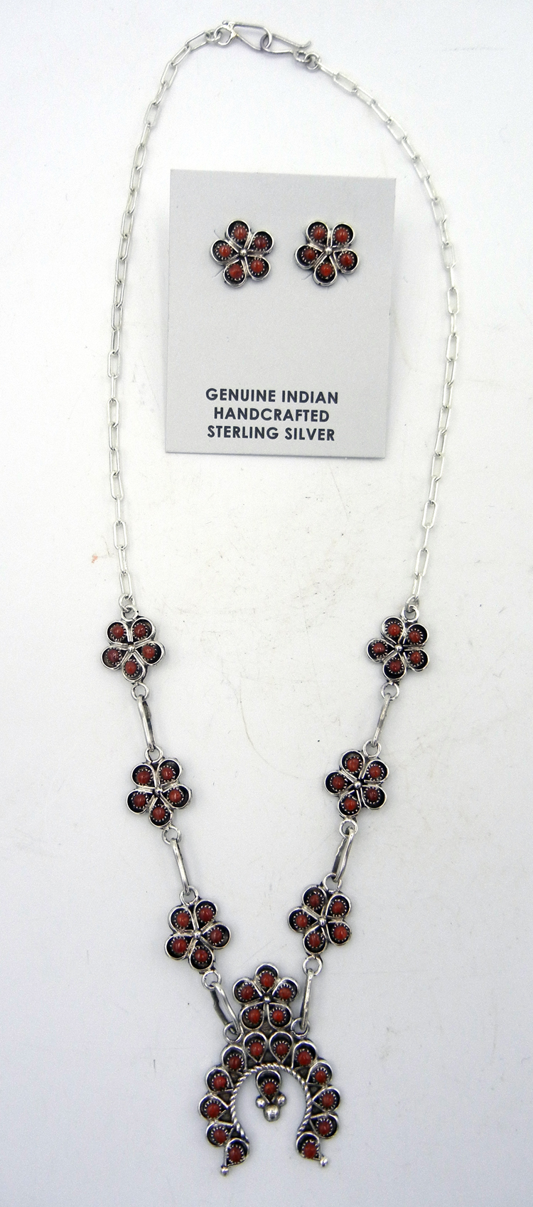 Zuni Coral and Sterling Silver Naja Necklace and Earring Set
