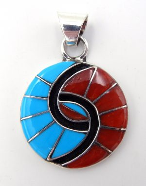 Zuni coral, sterling silver, and turquoise inlay hummingbird pattern pendant by Amy Quandelacy