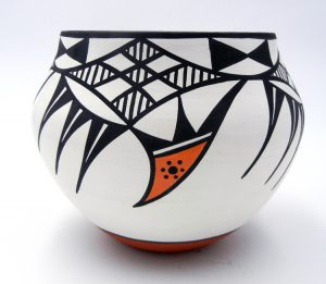 Acoma traditional polychrome parrot pattern bowl by David Antonio