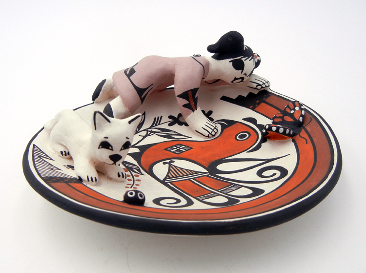 Acoma small plate featuring parrot design and attached girl, cat, butterfly and ladybuy by Marilyn Ray