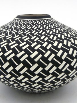 Acoma Paula Estevan Handmade Black and White Eyedazzler Seed Pot