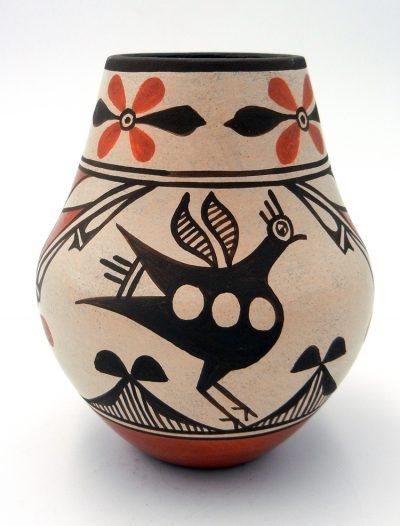 Zia small vase with traditional bird and geometric designs by Elizabeth and Marcellus Medina