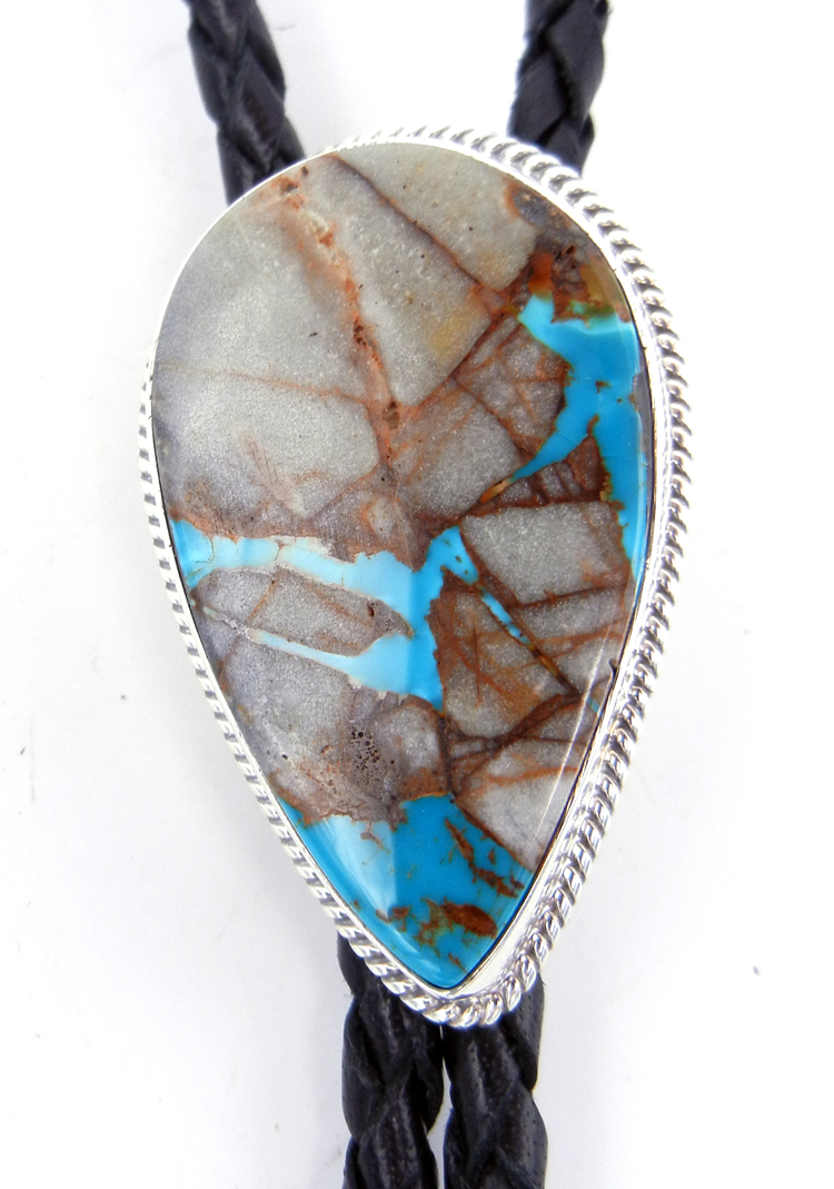 Navajo Royston Ribbon (Boulder) Turquoise and Sterling Silver Bolo Tie