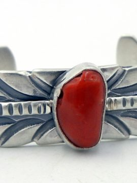 Navajo Coral and Sterling Silver Feather Cuff Bracelet