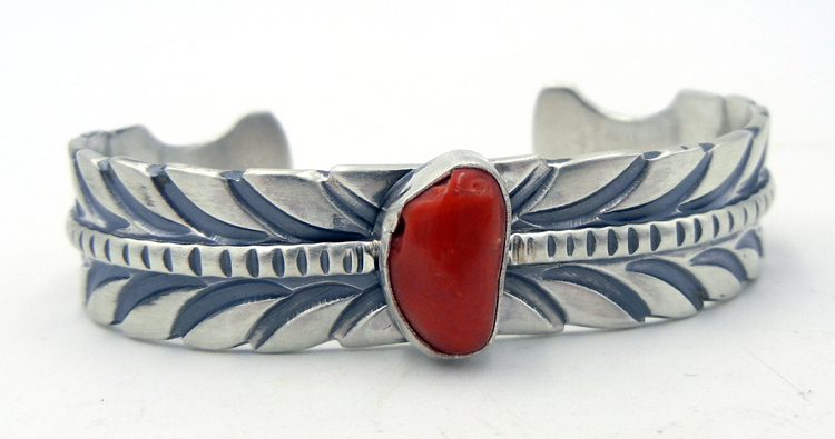Navajo coral and sterling silver feather pattern cuff bracelet