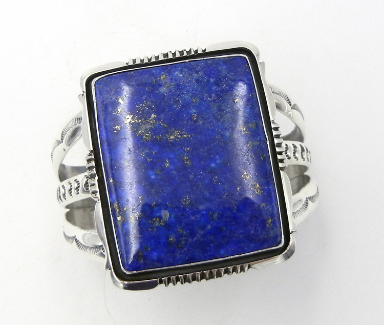 Navajo large lapis and sterling silver cuff bracelet by Will Denetdale