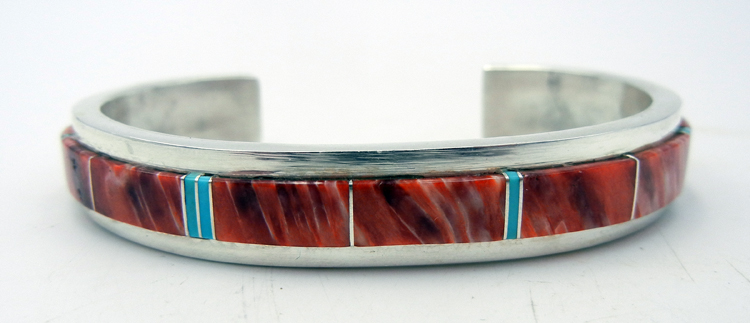Navajo Red Spiny Oyster, Turquoise and Sterling Silver Channel Inlay Cuff Bracelet