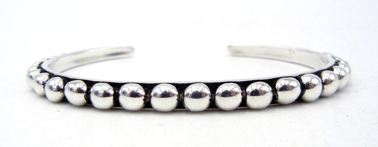 Navajo Million Dollar Drop Collection Sterling Silver Applique Dot Cuff Bracelet