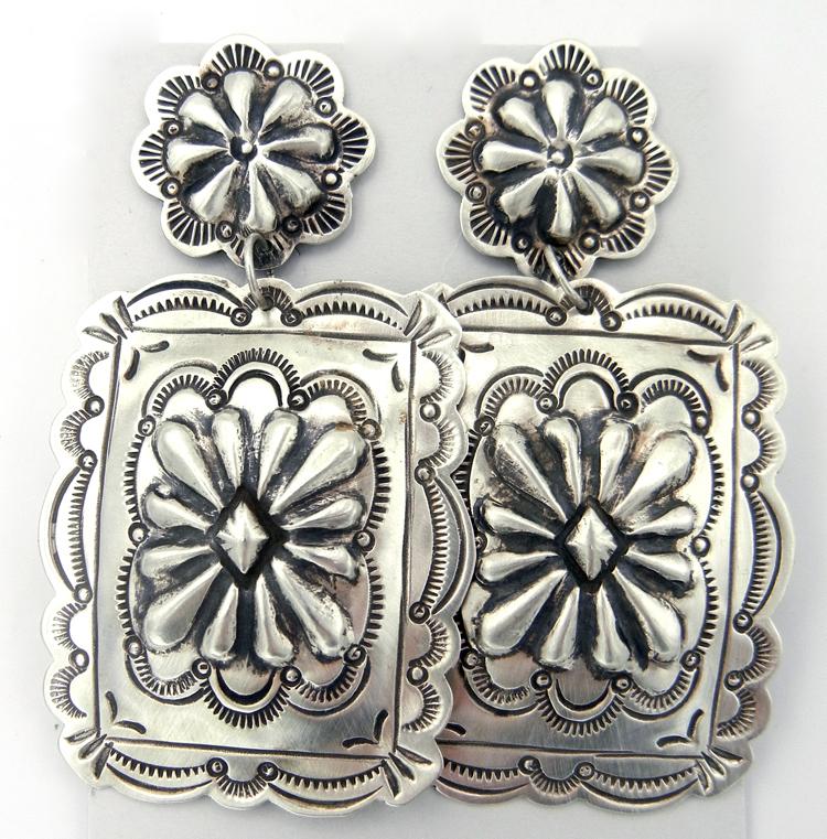 Navajo Genevieve Blackgoat Large Sterling Silver Concho Style Dangle Earrings