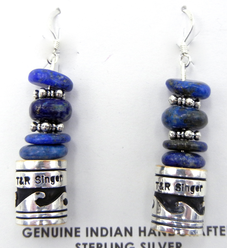 Navajo Rosita Singer Sterling Silver Overlay and Lapis Earrings