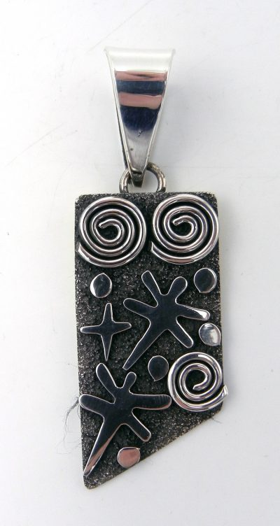 Navajo sterling silver petroglyph style pendant by Alex Sanchez