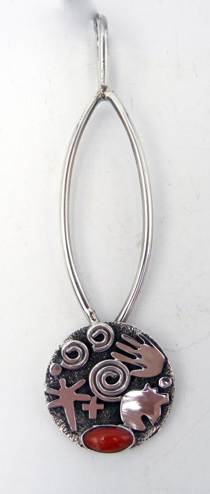 Navajo sterling silver and coral petroglyph pattern pendant by Alex Sanchez