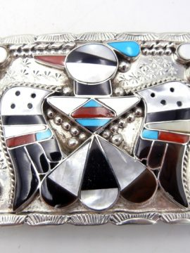 Zuni Multi-Stone Inlay and Sterling Silver Thunderbird Belt Buckle