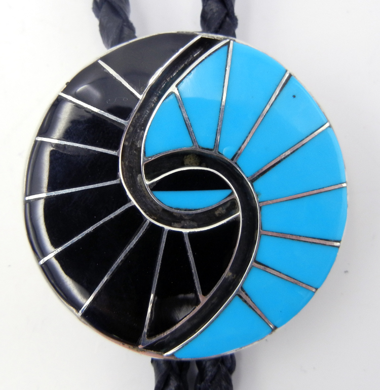 Zuni Amy Quandelacy Turquoise, Jet, and Sterling Silver Inlay Hummingbird Pattern Bolo Tie