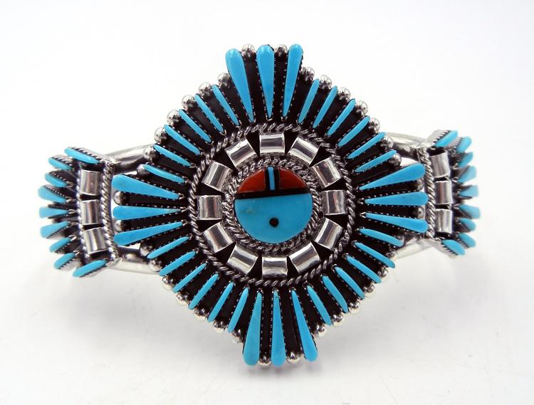 Zuni Edmund Cooeyate Turquoise Needlepoint and Multi-Stone Inlay Sunface Cuff Bracelet