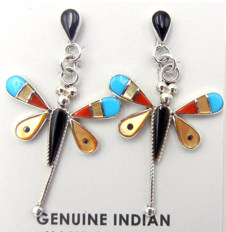 Zuni Multi-Stone Inlay and Sterling Silver Dragonfly Dangle Earrings