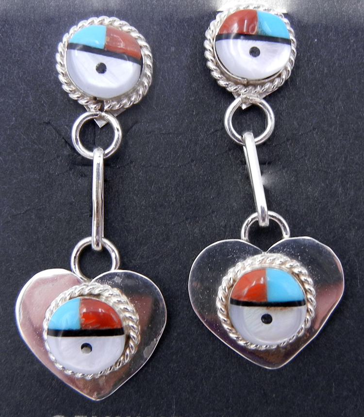 Zuni Multi-Stone Inlay and Sterling Silver Double Sunface Dangles