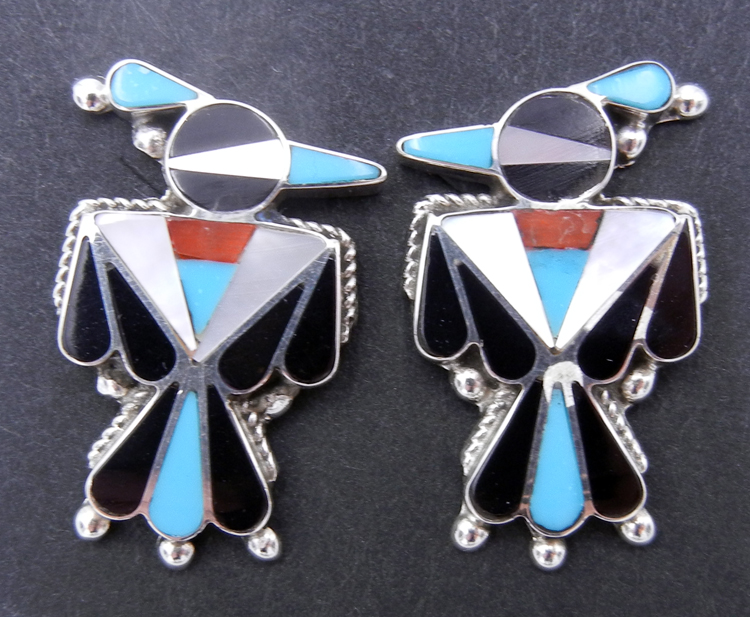 Zuni traditional, multi-stone inlay and sterling silver thunderbird earrings