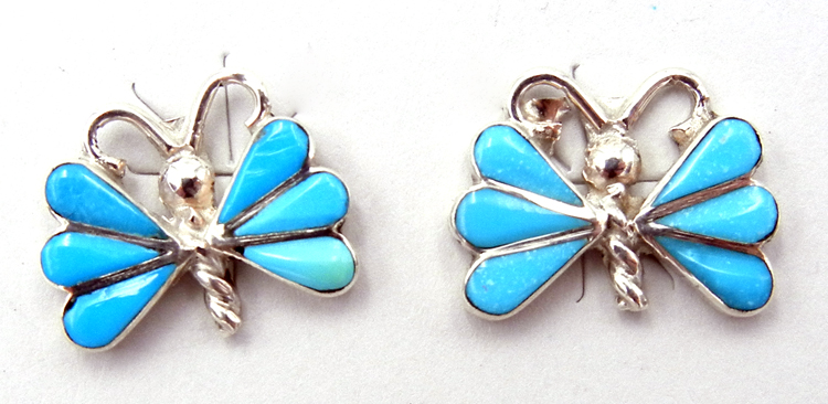 Zuni Ken Yatsatie Turquoise and Sterling Silver Inlay Butterfly Earrings
