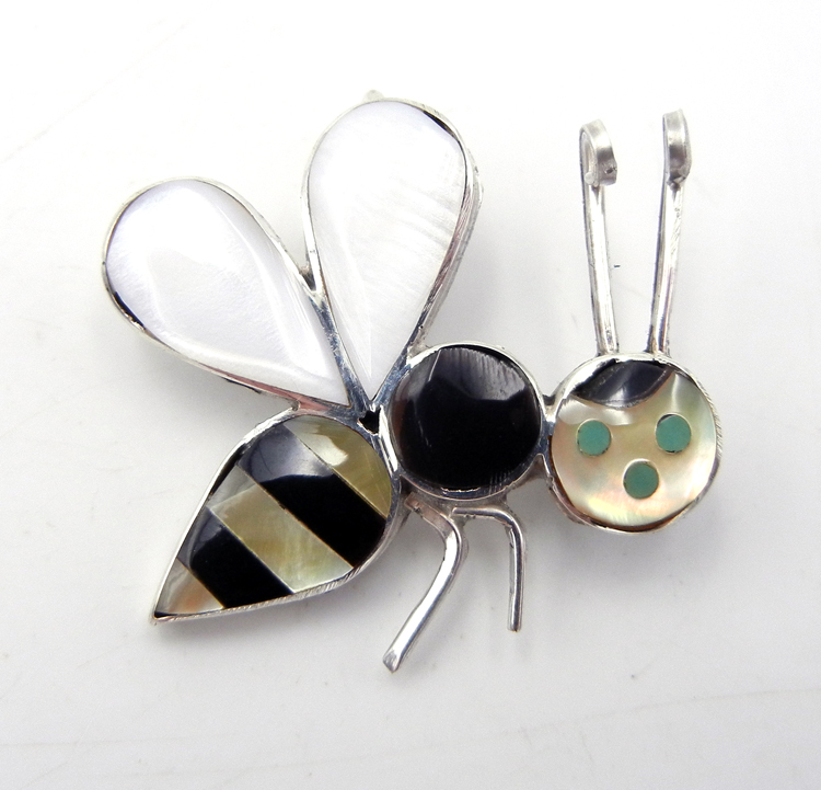 Zuni multi-stone inlay and sterling silver bee pin/pendant by Angus Ahiyite