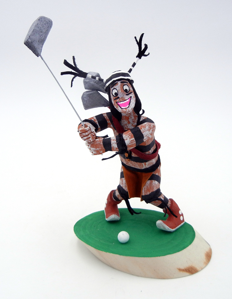 Navajo golfer koshare kachina by Bertha Wood