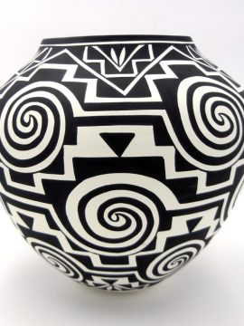 Acoma Kathy Victorino Large Handmade Black and White Whirlwind and Step Pattern Jar