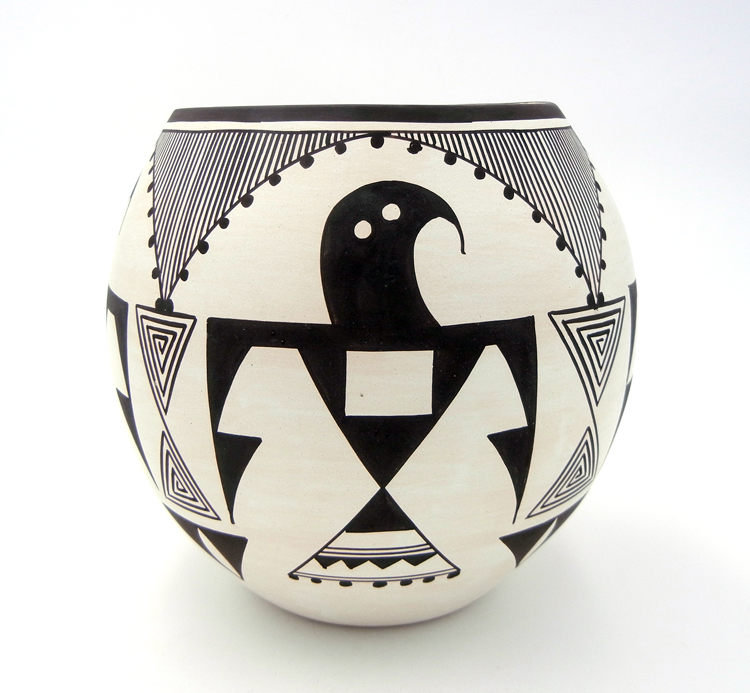 Laguna Myron Sarracino Black and White Thunderbird Pattern Jar