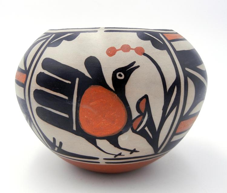 Santo Domingo bird and geometric pattern bowl by Robert Tenorio