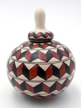 Mata Ortiz Oralia Lopez Small Polychrome Lidded Jar